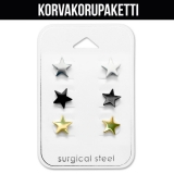 "Korvakorupaketti 3 paria ""8 mm Star Ear Stud Set"""