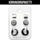 "Korvakorupaketti 3 paria ""Stud and Black Huggies Set"""