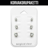 "Korvakorupaketti 3 paria ""Heart 3mm, 4mm and 5mm Cubic Zirconia"""