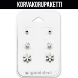 """Korvakorupaketti 3 paria """"Surgical Steel Flower Ear Stud Set"""""""