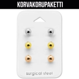 """Korvakorupaketti 3 paria """"Surgical Steel 6mm Ball Ear Stud Set"""""""