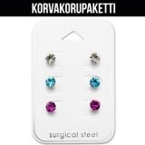 """Korvakorupaketti 3 paria """"Surgical Steel Round Crystal Ear Stud Set"""""""