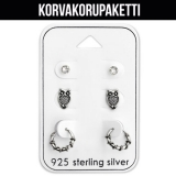 "Korvakorupaketti 3 paria ""Silver Owl Ear Stud and Bali Hoop Set"""