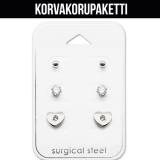"""Korvakorupaketti 3 paria """"Surgical SteelSteel Heart Ear Stud Set"""""""