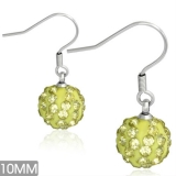 10mm Stainless Steel Shamballa Long Drop Hook Earrings With Jonquil CZ