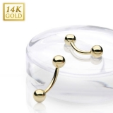 "14K Kultainen Kulmakoru ""14 Karat Solid Yellow Gold Curved Barbell"""