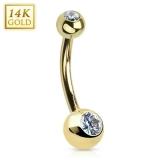 "14K Kultainen Napakoru ""14 Karat Solid Yellow Gold Navel Ring"""
