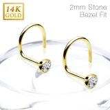 """14K Kultainen Nenäkoru """"Clear 2mm CZ Ball 14 Karat Solid Yellow Gold Nose Screw Ring"""""""
