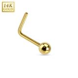 "14K Kultainen Nenäkoru ""14K Gold L Bend Nose Ring with Solid Ball"""