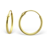 "Hopeiset Korvarenkaat ""14 mm Gold Plated Silver Ear Hoops"""