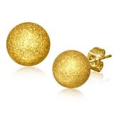 """316L Kirurginteräs """"9mm Gold Color Plated Sandblasted Ball Stud Earrings"""""""