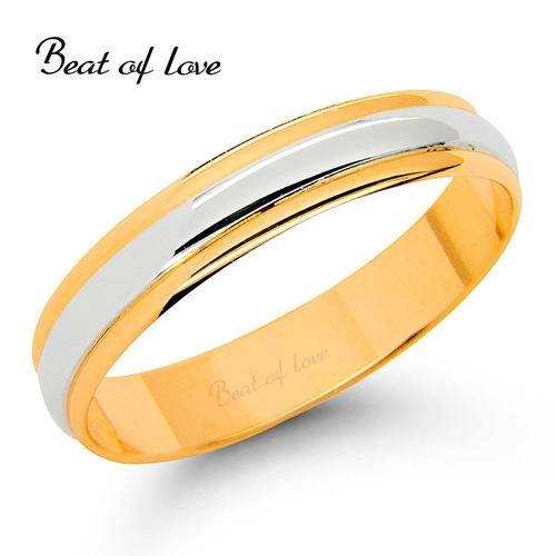 Beat of Love -kihlasormus 4mm kelta-/valkokultaa (KV151-4)