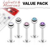 5 Pcs Value Pack of 316L Surgical Steel Ferido Crystal Top Labret Monroe