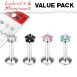 4 Pcs Value Pack of 316L Steel Internally Threaded Star Gem Prong Set Labret