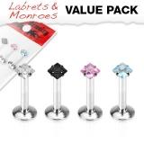 4 Pcs Value Pack of 316L Steel Internally Threaded Square Cut Gem Prong Set Labret