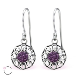"Hopeiset korvakorut ""La Crystale Swarovski® Silver Amethyst Earrings"""