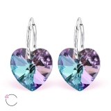 "Hopeiset korvakorut ""La Crystale Swarovski® Silver Heart Vitrail Light Earrings"""