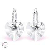 "Hopeiset korvakorut ""La Crystale Swarovski® Silver Heart Crystal Earrings"""