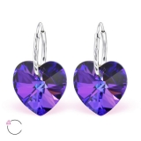 "Hopeiset korvakorut ""La Crystale Swarovski® Silver Heart Heliotrope Earrings"""