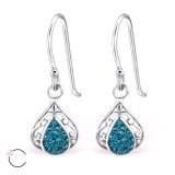 "Hopeiset korvakorut ""La Crystale Swarovski® Tear Drop Indicolite Earrings"""