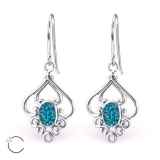 "Hopeiset korvakorut ""La Crystale Swarovski® Silver Flower Indicolite Earrings"""