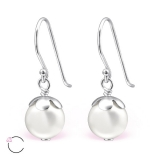 "Hopeiset korvakorut ""La Crystale Swarovski® Pearl 8mm Silver Earrings"""
