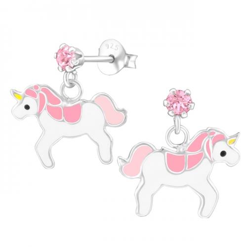 """Hopeiset Lasten Korvakorut """"Hanging Crystal Unicorn"""""""