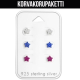 "Korvakorupaketti 3 paria ""Children's Silver Star Ear Stud Set"""