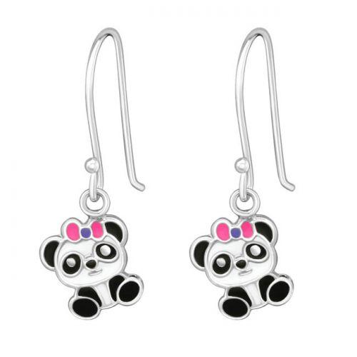 """Hopeiset Lasten Koukkukorvakorut """"Panda Earrings"""""""
