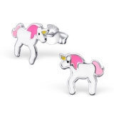 """Hopeiset Lasten Korvakorut """"Pink Silver Unicorn Ear Studs"""""""