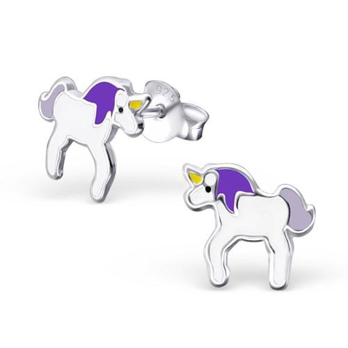 """Hopeiset Lasten Korvakorut """"Purple Silver Unicorn Ear Studs"""""""