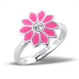 "Lasten Hopeasormus ""Flower Ring Adjustable with Crystal and Epoxy"""