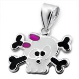 "Hopeinen Lasten Riipus ""Children's Silver Skull Pendant with Epoxy"""