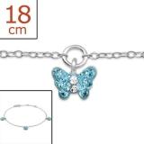 "Lasten Hopeinen Rannekoru ""Butterfly with Crystal"""