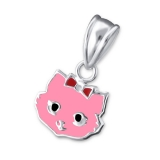 "Hopeinen Lasten Riipus ""Silver pink cat pendant"""