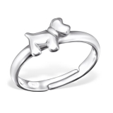 "Lasten Hopeasormus ""Silver Dog Ring Adjustable"""