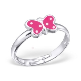 "Lasten Hopeasormus ""Silver Pink Butterfly Ring Adjustable"""