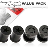 "Tunnelipaketti ""4 kpl Star Tunnel And Silicone Black Plug"""