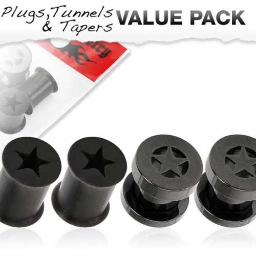"Tunnelipaketti ""4 kpl Star Tunnel And Silicone Black Plug"""