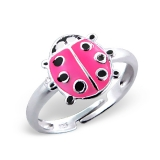 "Lasten Hopeasormus ""Ladybug Ring Adjustable with Epoxy"""