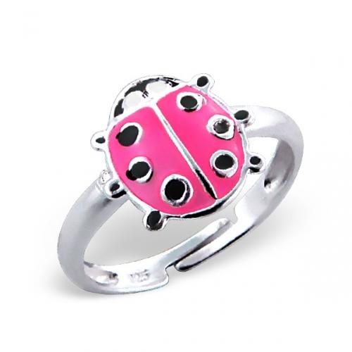 """Lasten Hopeasormus """"Ladybug Ring Adjustable with Epoxy"""""""