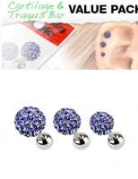 3 Pcs Value Pack of Assorted 316L Tragus Bar with Purple Ferido Ball