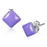 Stainless Steel 2-tone Violet/ Purple Square Stud Earrings