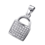 """Hopeariipus """"Silver Micro Pave Setting Square Pendant with Cubic Zirconia"""""""