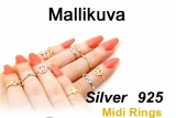 "Hopeinen Midi-Sormus ""Silver Round Midi Ring with Crystal"""