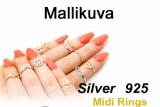"Hopeinen Midi-Sormus ""Silver Round Midi Ring with Swarovski Crystal"""
