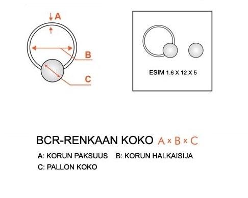"""Lävistyskorupaketti """"3 kpl Blacksteel Bcr-rengas 1,6 mm"""""""