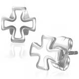 "316L Kirurginteräs ""White Enameled Iron Cross Stud Earrings"""