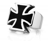 "Heavy Steel Jewelry-Sormus ""Black Stainless steel iron Cross Biker Rings"""