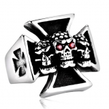 "Heavy Steel Jewelry-Sormus ""3 Heads Stainless Steel Iron Cross Biker Rings"""
